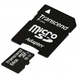 Transcend 64Gb microSDHC Class 10 UHS-I Premium + SD adapter (TS64GUSDU1)
